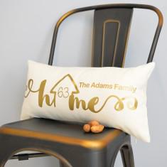 Personalised Home Metallic Gold Rectangular Cushion