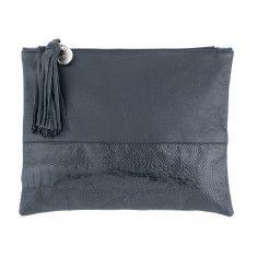 Nicole Black Leather Clutch