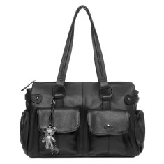 Mia Tote Leather Nappy Bag in Black