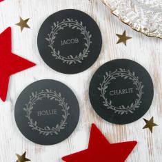 Personalised Christmas Place Settings Slate Coasters
