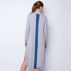 Split side long cardigan - blue stripe