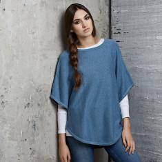 Reversible cotton cashmere poncho in sky & blue denim