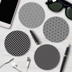 Four Monochrome Geometric Coasters (Pattern 2)