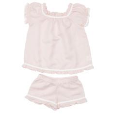 Girls' pink linen ruffle pyjamas