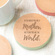 To Me You Are The World Coloured Edge Coaster