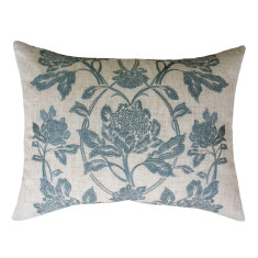 Waratah in teal embroidered cushion