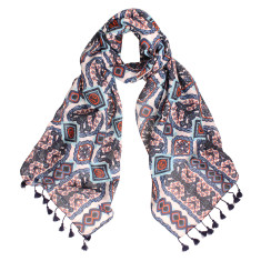 Wallis Cotton Silk Scarf with Hand Made Tassels (various colours)