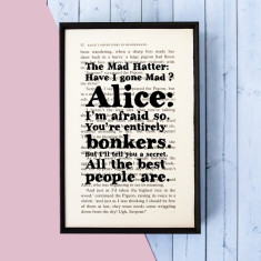 Alice in Wonderland entirely bonkers Mad Hatter - Book quote print
