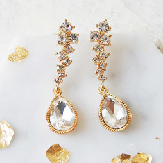 Gold Rhinestone Teardrop Earrings