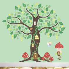 Fairy folk enchanted tree fabric wall stickers