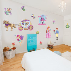 Prince & fairy princess wall stickers