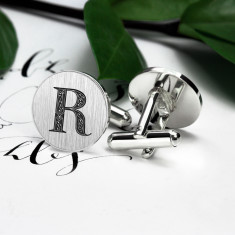 Round monogram cufflinks in sterling silver