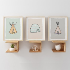 Teepee, Igloo & Wigwam Dwellings Nursery Art Prints (Set of 3)