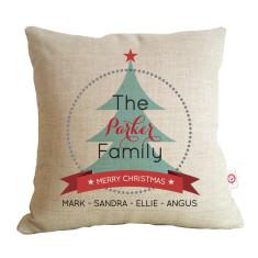 Personalised family Christmas tree cushion
