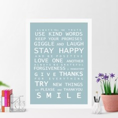 A3 framed family rules print (various colours)