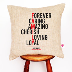 Family personalised linen cushion cover