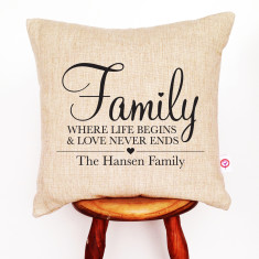 Family, where life begins personalised cushion cover
