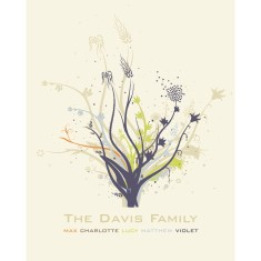 Modern family tree personalised print