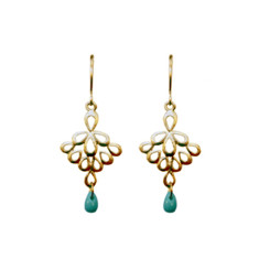Fan droplet earrings in gold