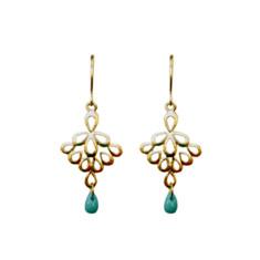 Fan droplet earrings in gold