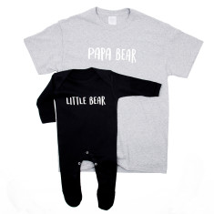 Dad And Me Bear T Shirt And Baby Romper Sleepsuit Set