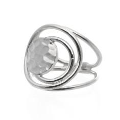 Open weave beaten disc ring