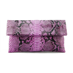 Light pink motif python leather classic foldover clutch
