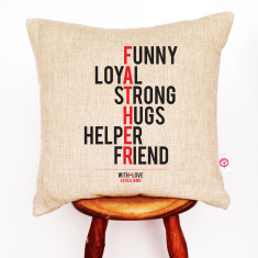 Father personalised linen cushion cover
