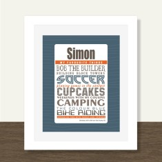 Boys' favourite things personalised print (range of colours)