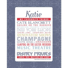 Her favourite things personalised print in blues & neutrals