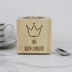 Personalised Crown Themed Candle Holder