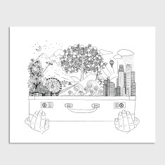 Suitcase World Black and White Illustrated Art Print