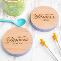 Personalised Mr And Mrs Wedding Date Coasters