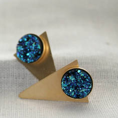 Blue and Gold Druzy Triangle Studs