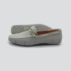 Splash boat shoe in grey with grey laces