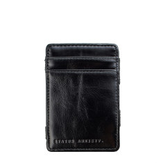 Flip leather wallet in black