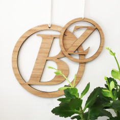 Italic initial personalised bamboo wall hanging (2 sizes available)