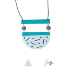 Confetti necklace and earring gift set - aqua, white, grey