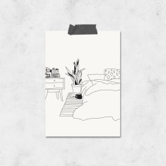 All Occasion Black and White Bed Illustration Greeting Cards (Pack of 4)