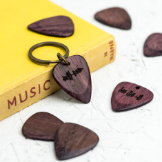 Personalised Purple Heart wood sound wave guitar pick keyring