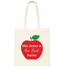 Personalised teachers apple tote bag