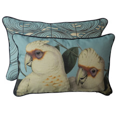 Coral Blue Corellas rectangle cushion cover