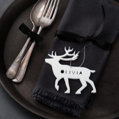 Personalised Reindeer Napkin Place Setting