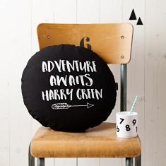 Personalised Adventure Awaits Round Monochrome Cushion