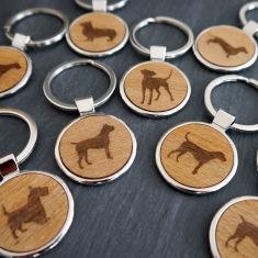 Wooden Dog Key Ring