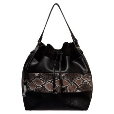 Snake charmer vegan leather bucket bag