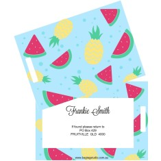 Personalised luggage tags in watermelon daze design (set of 2)