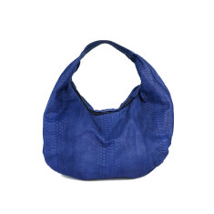 Denim blue python leather short hobo bag