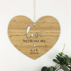 Love Simple Script Personalised Heart Wall Hanging