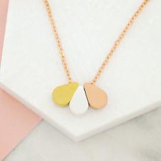 Triple tone teardrop necklace in rose gold